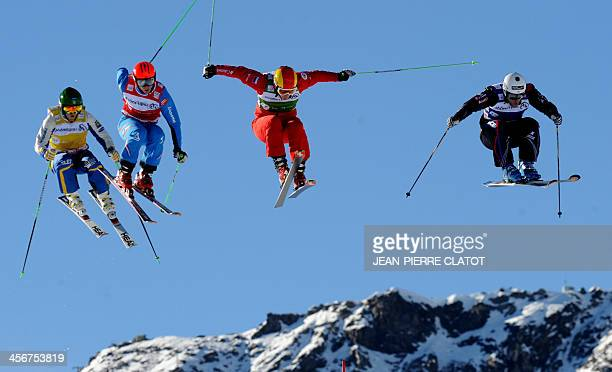 Czech Republic's Nikol Kucerova Germany's Heidi Zacher France's Alizee Baron and Switzerland's Jorinde Mueller compete during the FIS World Cup...