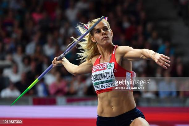 Czech Republic's Nikola Ogrodnikova competes in the women's Javelin Throw final during the European Athletics Championships at the Olympic stadium in...