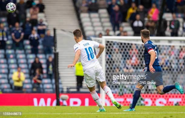 Czech Republic's Patrick Schick makes it 2-0 from long range during a Euro 2020 match between Scotland and Czech Republic at Hampden Park on June 14...