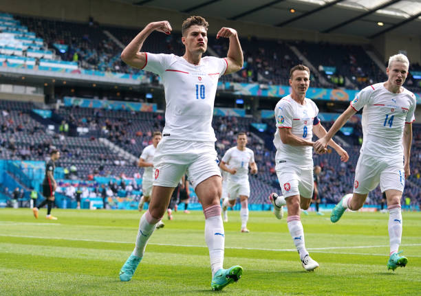 Czech Republic's Patrik Schick celebrates scoring their side's first goal of the game during the UEFA Euro 2020 Group D match at Hampden Park,...