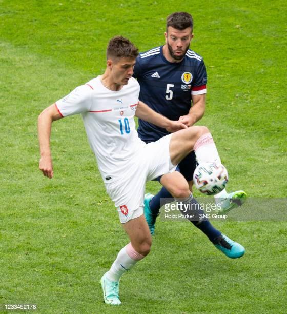 Czech Republic's Patrik Schick is closed down by Scotland's Grant Hanley during a Euro 2020 match between Scotland and Czech Republic at Hampden Park...