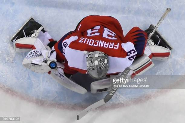Czech Republic's Pavel Francouz makes a save in the men's preliminary round ice hockey match between the Czech Republic and Switzerland during the...