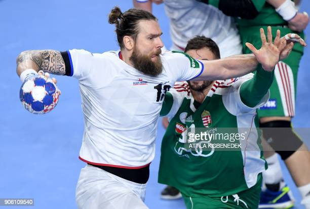Czech Republic's Pavel Horak vies with Hungary's Gabor Ancsin in Varazdin Arena on January 17 2018 during their group 'D' match of the 13th Men's...