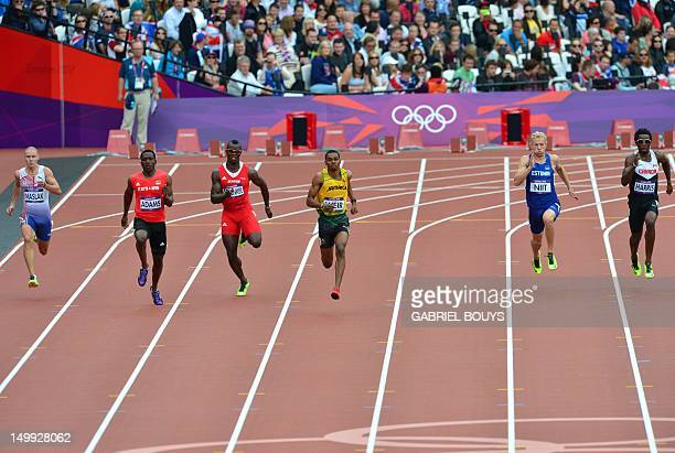 Czech Republic's Pavel Maslak Saint Kitts Nevis' Antoine Adams Jamaica's Warren Weir Estonia's Marek Niit and Canada's Tremaine Harris compete in the...