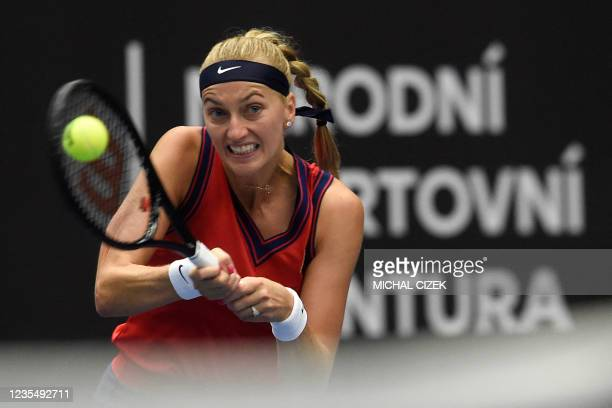 Czech Republic's Petra Kvitova returns the ball to Estonia's Anett Kontaveit in their women's singles semi-final match of the Ostrava Open WTA tennis...