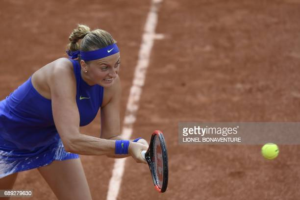 Czech Republic's Petra Kvitova returns the ball to US Julia Boserup during their qualification round match at the Roland Garros 2017 French Tennis...