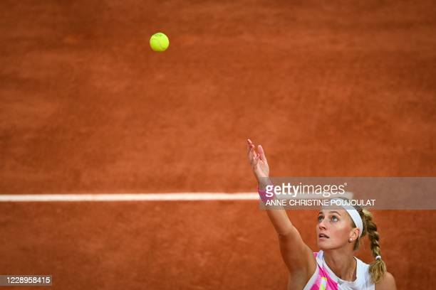 Czech Republic's Petra Kvitova serves the ball to Sofia Kenin of the US during their women's singles semi-final tennis match on Day 12 of The Roland...