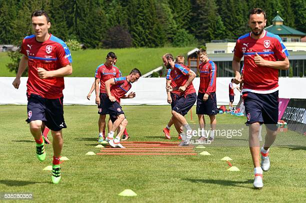 Czech Republic's players attend a training session in Koessen Austria on May 29 preparing for the upcoming Euro 2016 European football championships...