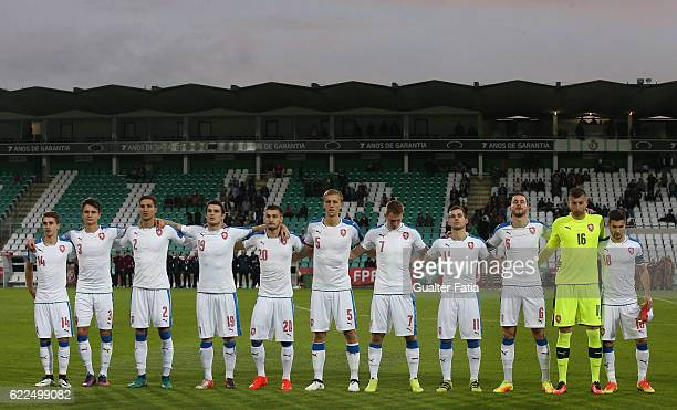 Czech Republic's players before the start of the U21 Friendly match between Portugal and Czech Republic at Estadio do Bonfim on November 11 2016 in...