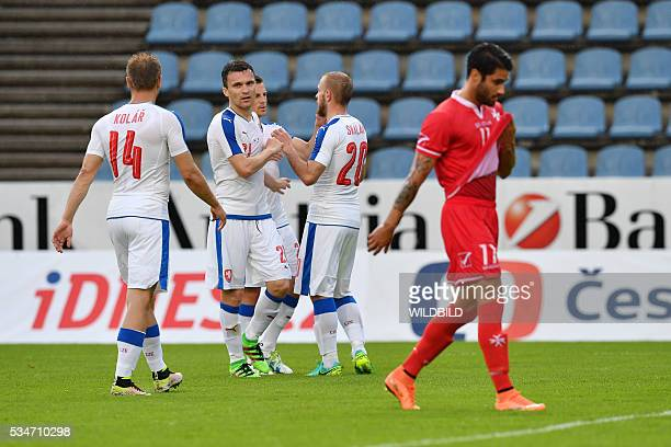 Czech Republic's players celebrate after scoring during the friendly football match between Czech Republic and Malta in Kufstein Austria on May 27...