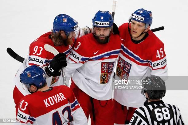 Czech Republic's players celebrate after scoring during the IIHF Men's World Championship group B ice hockey match between Belarus and Czech Republic...