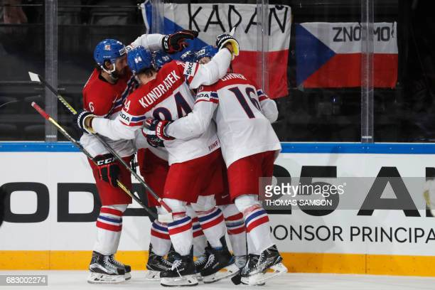 Czech Republic's players celebrate after they scored during the IIHF Men's World Championship group B ice hockey match between France and Czech...