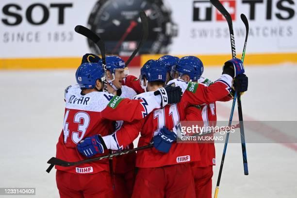Czech Republic's players celebrate the 2-3 goal scored by Czech Republic's defender Lukas Klok during the IIHF Men's Ice Hockey World Championships...