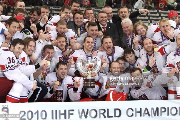 Czech Republic's players celebrate with the trophy after the IIHF Ice Hockey World Championship final match Russia vs Czech Republic in the western...