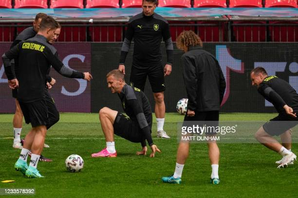 Czech Republic's players including Czech Republic's midfielder Tomas Soucek take part in their MD-1 training session at Wembley Stadium in London on...