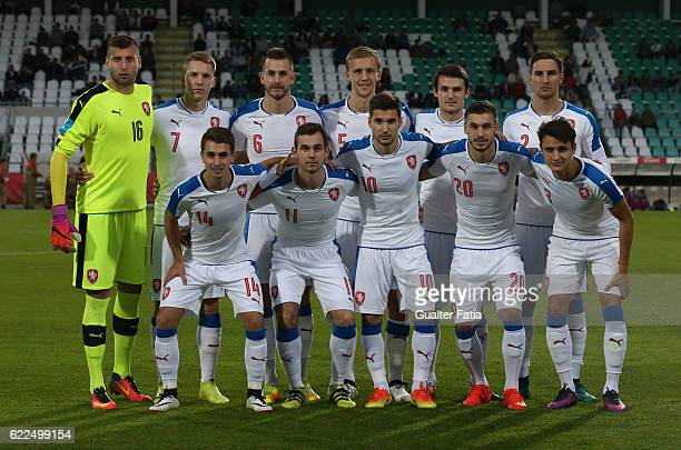 Czech Republic's players pose for a team photo before the start of the U21 Friendly match between Portugal and Czech Republic at Estadio do Bonfim on...