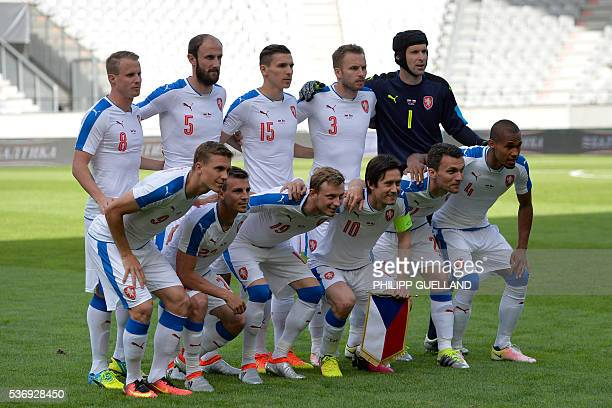 Czech Republic's players pose for a team photo prior to the international friendly football match of Russia vs Czech Republic on June 1 2016 in...