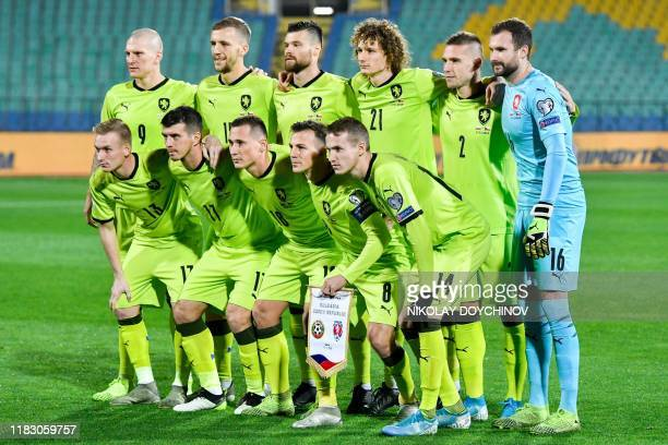 Czech Republic's players pose for the team photo prior to the UEFA Euro 2020 Group A football qualification match between Bulgaria and Czech Republic...