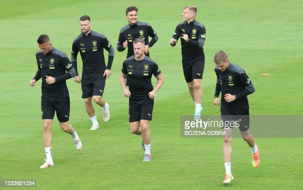 Czech Republic's players take part in a training session on June 25, 2021 in Prague, during the UEFA EURO 2020 football competition.
