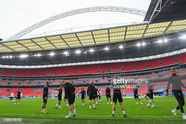 Czech Republic's players take part in their MD-1 training session at Wembley Stadium in London on June 21 the eve of their UEFA EURO 2020 Group D...