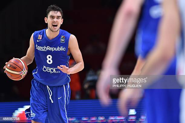 Czech Republic's point guard Tomas Satoransky holds on to the ball during the round of 8 basketball match between Serbia and the Czech Republic at...