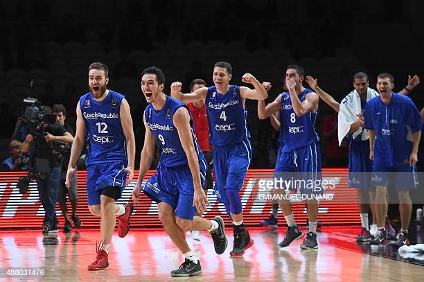Czech Republic's power forward David Jelinek Czech Republic's shooting guard Jiri Welsch Czech Republic's power forward Petr Benda and Czech...