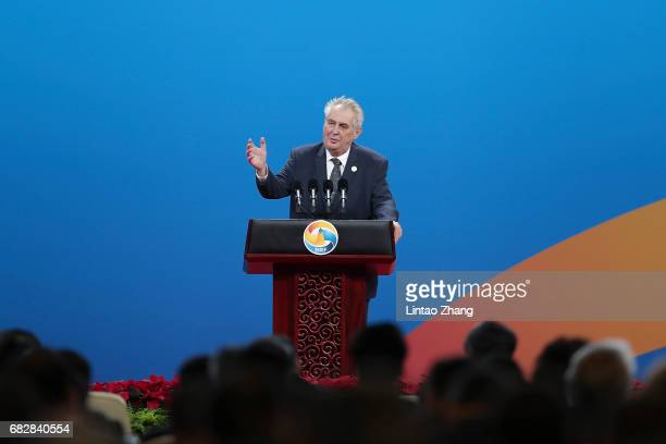Czech Republic's President Milos Zeman speaks during the Belt and Road Forum for International Cooperation on May 14 2017 in Beijing China