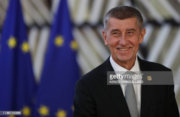 Czech Republic's Prime Minister Andrej Babis arrives ahead of a European Council meeting on Brexit at The Europa Building at The European Parliament...