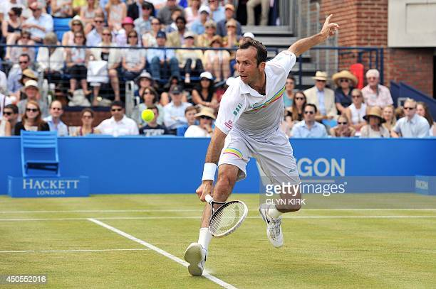 Czech Republics Radek Stepanek plays a shot against South Africas Kevin Anderson during their quarter-final match on day five of the ATP Aegon...