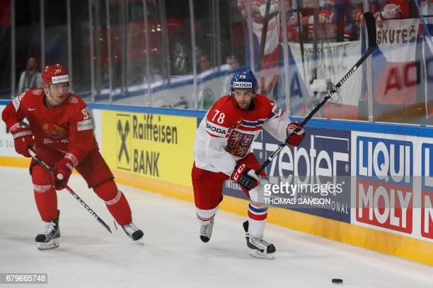Czech Republic's Robin Hanzl controls the puck during the IIHF Men's World Championship group B ice hockey match between Belarus and Czech Republic...
