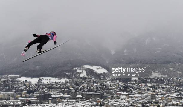 TOPSHOT Czech Republic's Roman Koudelka soars through the air during his first competition jump at the third stage of the FourHills Ski Jumping...
