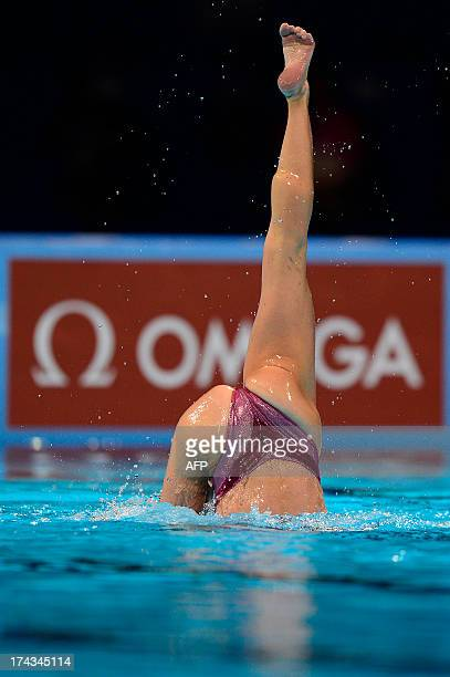 Czech Republic's Sona Bernardova competes in the solo free final during the synchronised swimming competition in the FINA World Championships at...
