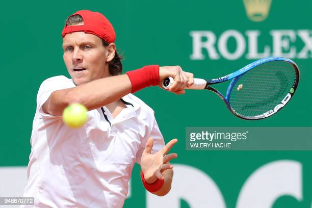 Czech Republic's Tomas Berdych returns a ball to Japan's Kei Nishikori during their round of 64 tennis match at the MonteCarlo ATP Masters Series...