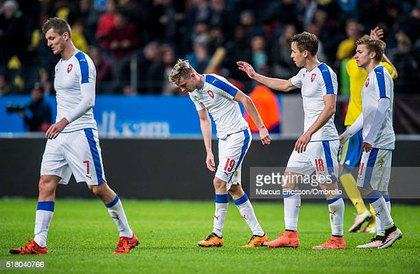 Czech Republics Tomas Necid Ladislav Krejci Josef Sural and Martin Frydek during the international friendly between Sweden and Czech Republic at...