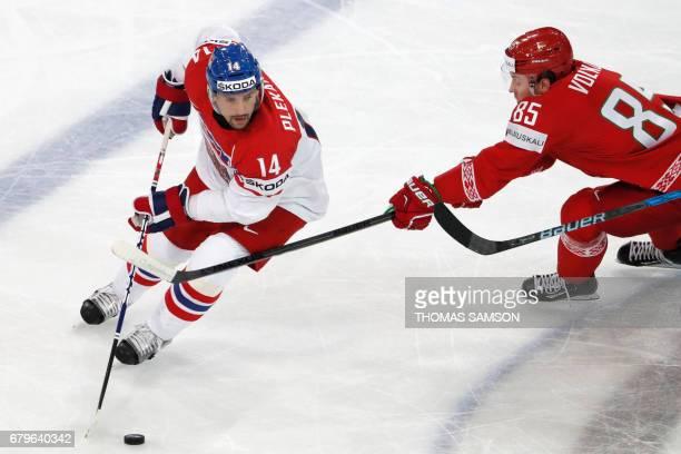 Czech Republic's Tomas Plekanec controls the puck during the IIHF Men's World Championship group B ice hockey match between Belarus and Czech...