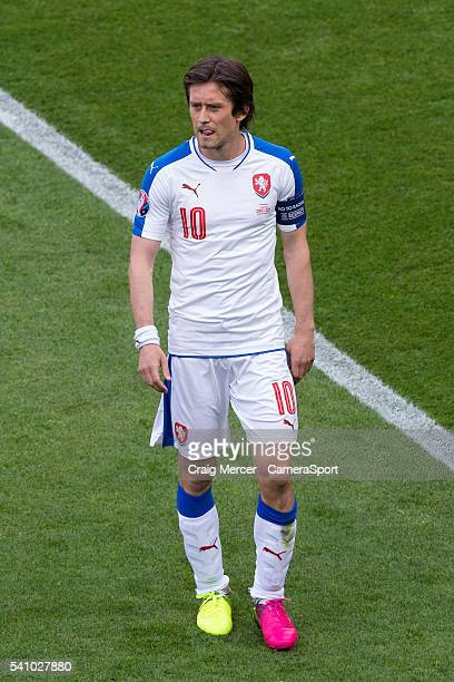 Czech Republic's Tomas Rosicky during the UEFA Euro 2016 Group D match between Czech Republic and Croatia at Stade Geoffroy Guichard on June 17, 2016...