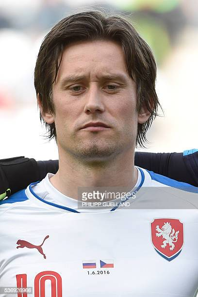 Czech Republic's Tomas Rosicky is pictured prior to the international friendly football match of Russia vs Czech Republic on June 1 2016 in Innsbruck...