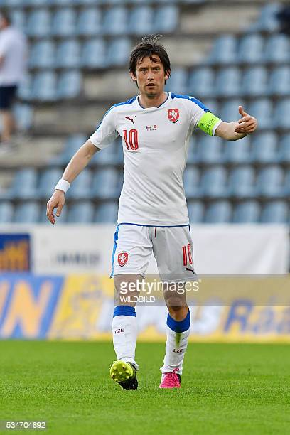 Czech Republic's Tomas Rosicky reacts during the friendly football match between Czech Republic and Malta in Kufstein Austria on May 27 2016 / AFP /...