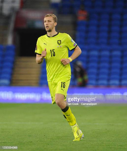 Czech Republic's Tomas Soucek during the FIFA World Cup 2022 Qatar qualifying match between Wales and Czech Republic at Cardiff City Stadium on March...