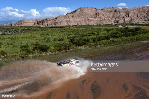 Czech Republic's truck driver Martin Soltys and codrivers Josef Kalina and Tomas Sikola compete during the Stage 12 of the 2018 Dakar Rally between...