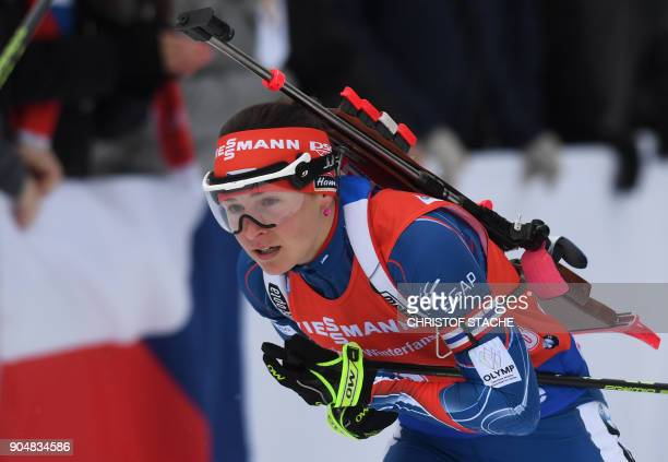 Czech Republic's Veronika Vitkova competes during the women's 125 kilometer mass start competition at the Biathlon World Cup on January 14 2018 in...