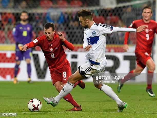 Czech Republic's Vladimir Darida vies with San Marino's Fabio Vitaioli during the FIFA World Cup 2018 qualification football match between Czech...