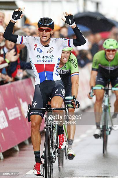 Czech Republic's Zdenek Stybar wins the second stage of the Eneco Tour in Vlijmen The Netherlands on August 12 2014 The tour runs until 17 August and...
