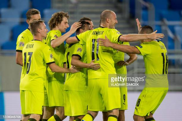 Czech Republik's National football team players celebrate their goal during the UEFA Nations League football match between Slovakia and Czech...