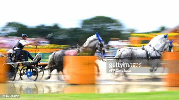 Czech rider Jiri Nesvacil leads his horses through an obstacle during the Marathon driving competition for fourinhand drivers during the World...