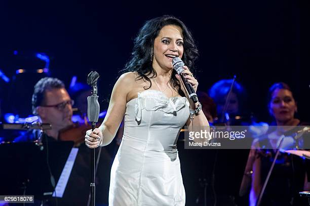 Czech singer Lucie Bila performs on the stage during the 'White Christmas' concert on December 13, 2016 in Prague, Czech Republic.