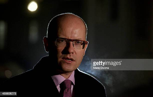 Czech Social Democratic Party Chairman and possible Prime Minister Bohuslav Sobotka speaks to media after meeting with Czech President Milos Zeman at...