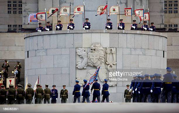 Czech soldiers march past the National Memorial during an Independence Day ceremony at Vitkov Hill on October 28 2013 in Prague Czech Republic The...