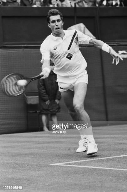 Czech tennis player Ivan Lendl playing at the Wimbledon Championships in London 24th June 1985