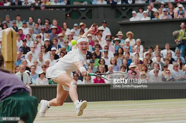 Czech tennis player Jana Novotna pictured in action against Martina Hingis in the final of the Women's Singles tournament at the Wimbledon Lawn...